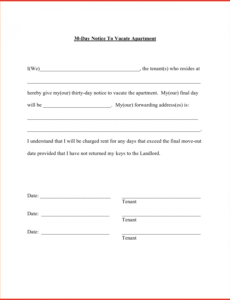 printable 30 day moving notice  magdaleneproject 30 day tenant notice to landlord template example