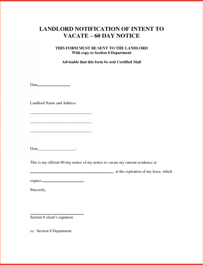Printable 30 Day Notice Letter To Tenant From Landlord  Magdalene Eviction Notice From Landlord To Tenant Template PDF