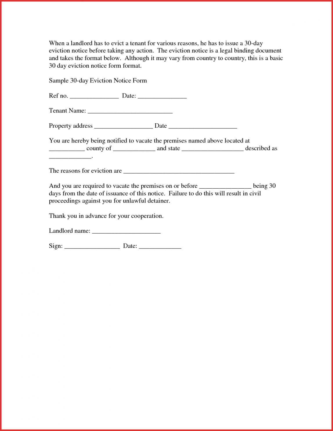 printable 30 day notice to landlord form  magdaleneproject tenant 30 day notice template