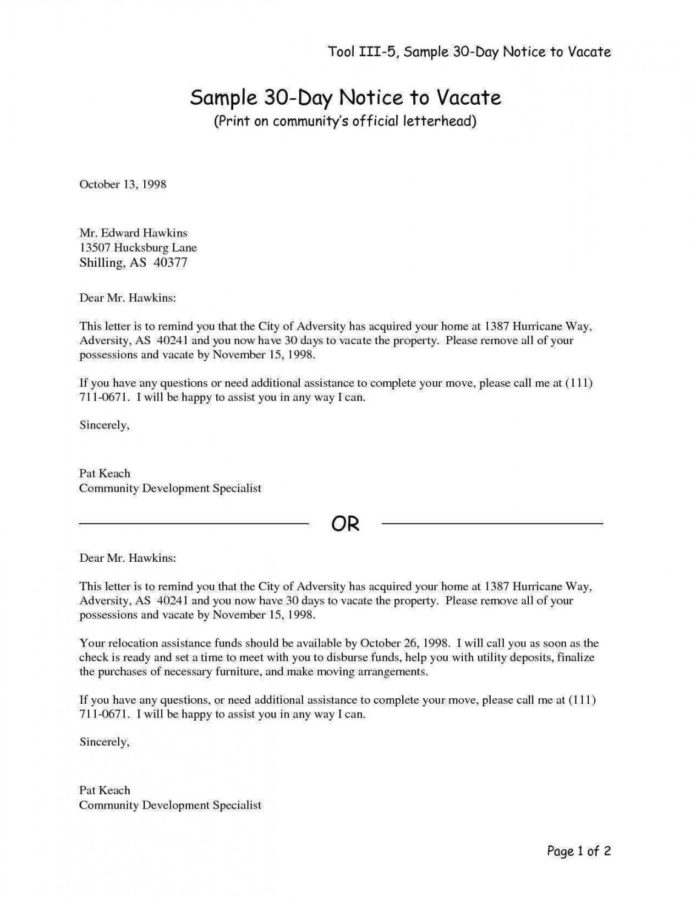 Printable 30 Day Notice To Move Out Letters  Magdaleneproject 30 Day Written Notice To Vacate Template Word