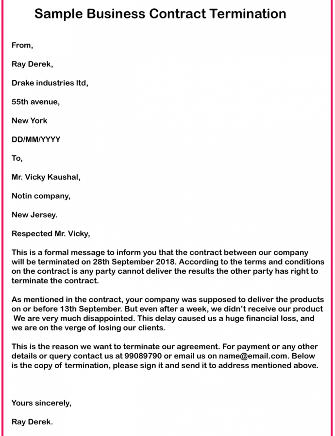 Printable 4 Free Business Contract Termination Letter With Example 30 Day Notice Contract Termination Letter Template Doc