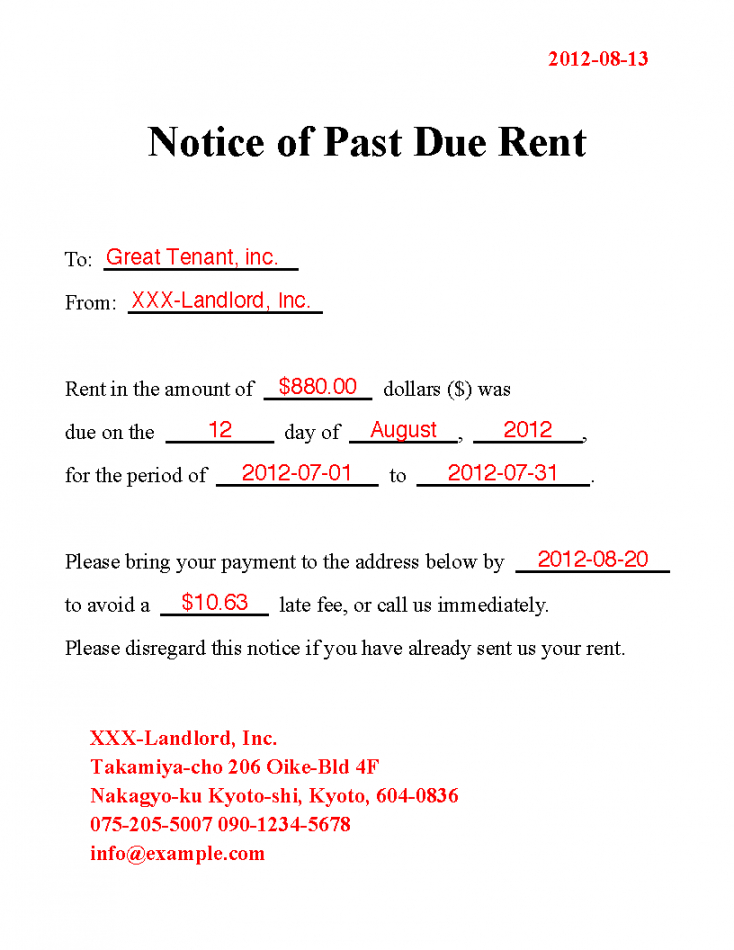 printable best photos of rent due notice template  past due rent rent late notice template doc