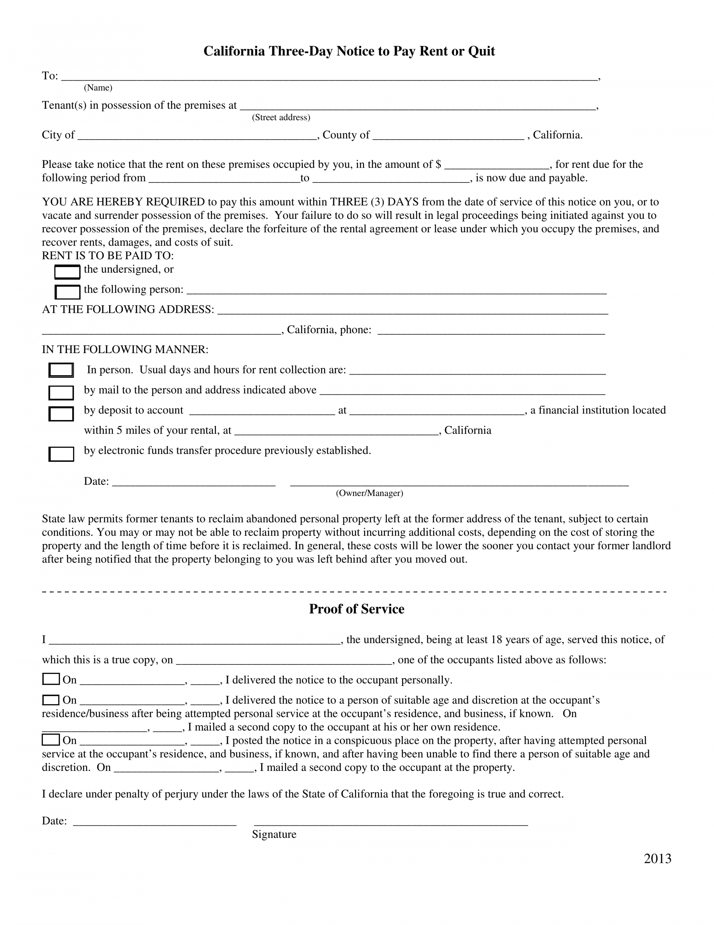 printable california 3day notice to quit form  nonpayment of rent 3 day eviction notice california template example