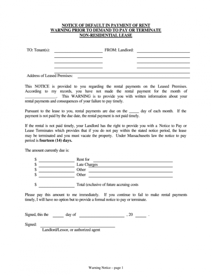 Printable Commercial Lease Notice Of Default  Fill Online Printable Late Notice For Rent Template Doc