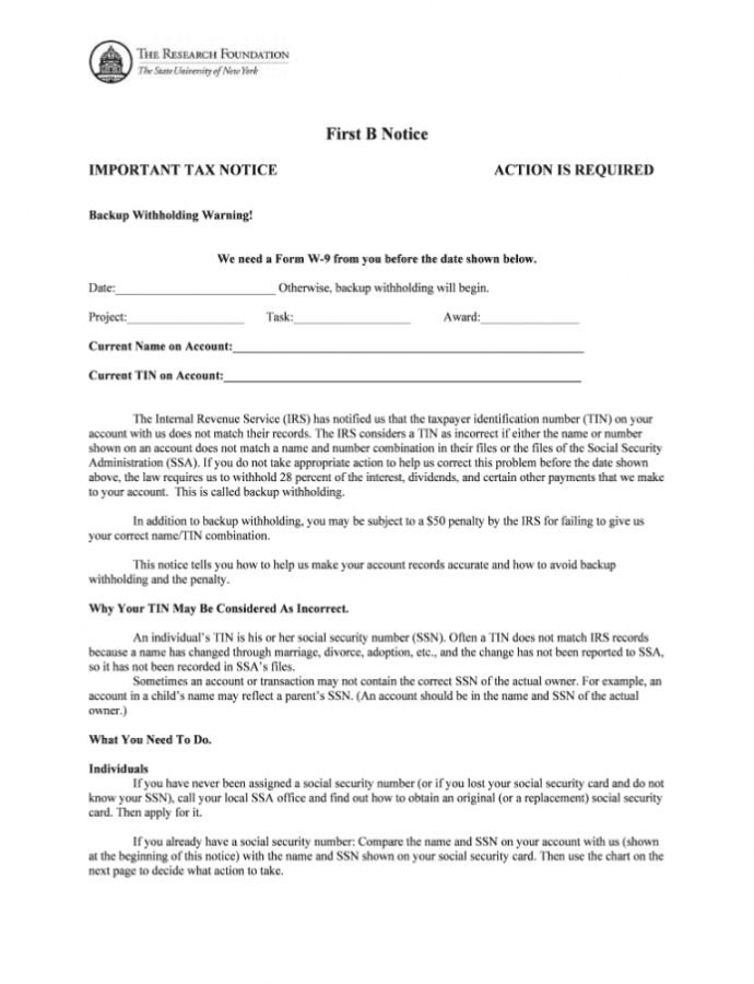 Printable First B Notice Letter Printable  Fill Online Printable Irs First B Notice Template Doc