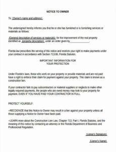 printable free 5 notice to owner forms  pdf florida notice to owner form template pdf