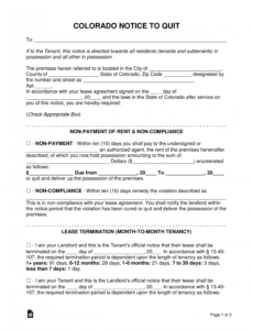 printable free colorado eviction notice forms  process and laws  pdf 30 day notice to vacate colorado template