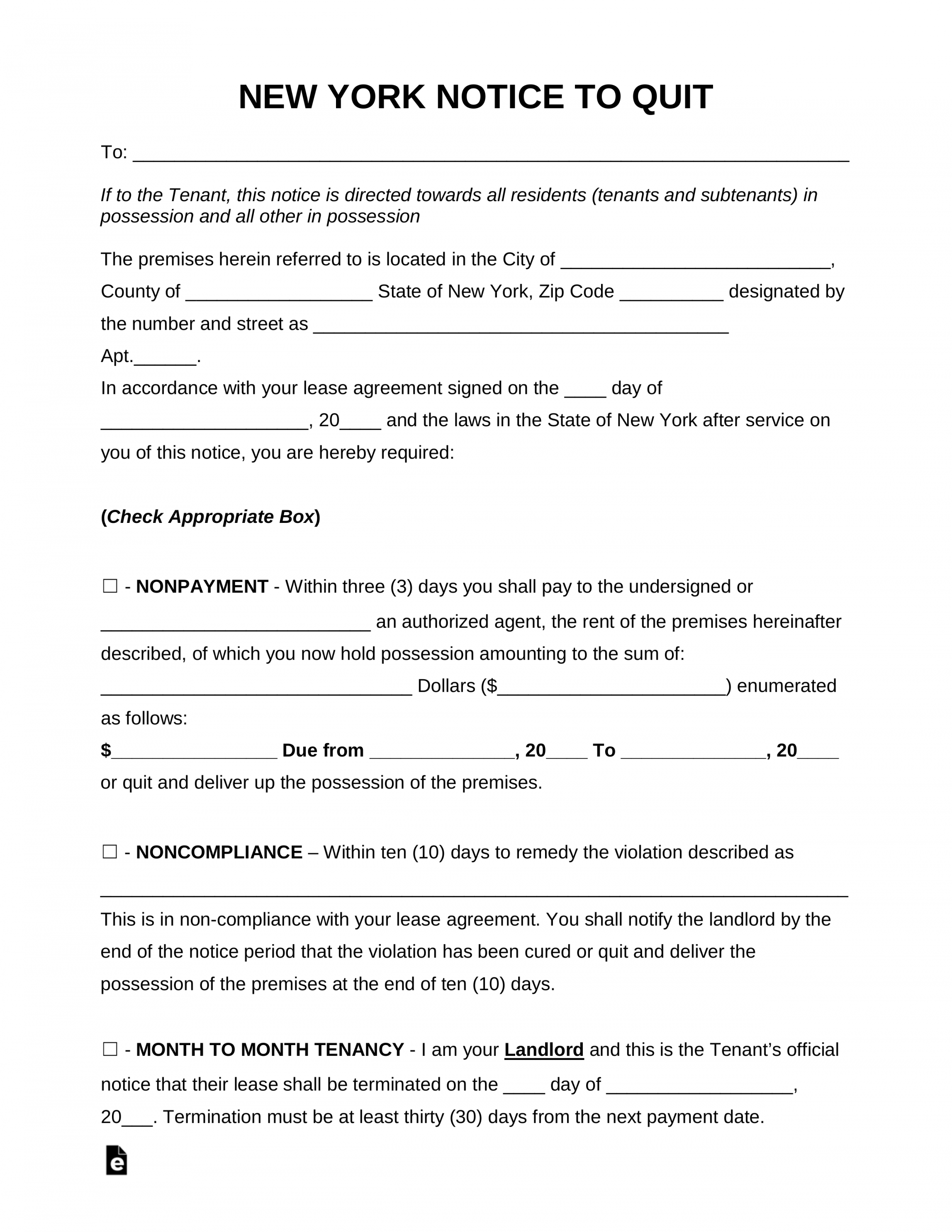 printable free new york eviction notice forms  process and laws  pdf eviction notice template ny doc