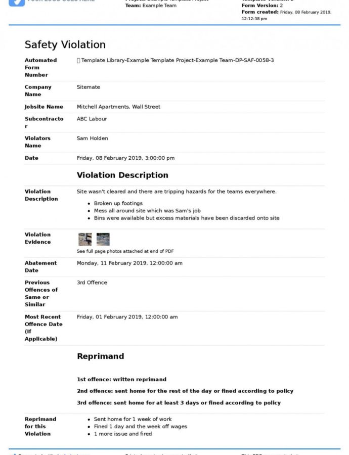 Printable Free Safety Violation Template Safety Violation Form Notice Of Violation Template