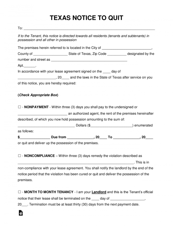 Printable Free Texas Eviction Notice Forms  Process And Laws  Pdf Notice To Evict Template