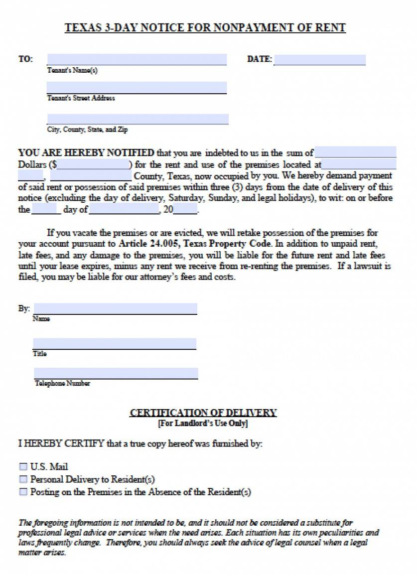 printable free texas three 3 day notice to quit  nonpayment of rent 30 day eviction notice template texas word