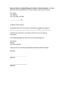 printable how to write a letter to landlord moving out  fill online apartment vacate notice template example