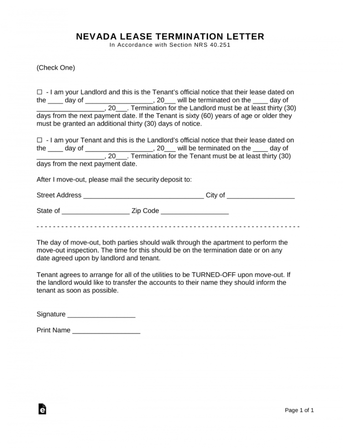 Printable Nevada Lease Termination Letter  30Day Notice  Eforms 30 Day Written Notice Template Word