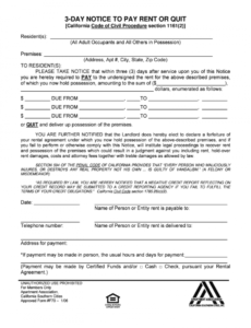 printable notice to pay rent or quit template pisepablem 3 day notice to quit template word