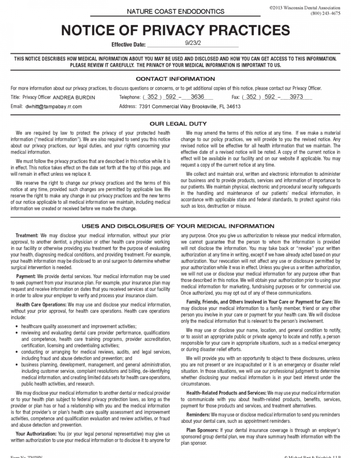 Printable Privacy Policy Example Bravebtr  Teplates For Every Day Hipaa Notice Of Privacy Practices Template 2015 Doc