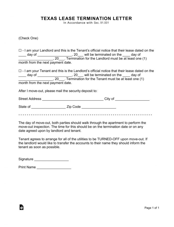 Printable Texas Lease Termination Letter Form  30Day Notice  Eforms How To Write A 30 Day Notice Template