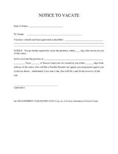 printable texas notice to vacate form  fill online printable template notice to quit tenancy