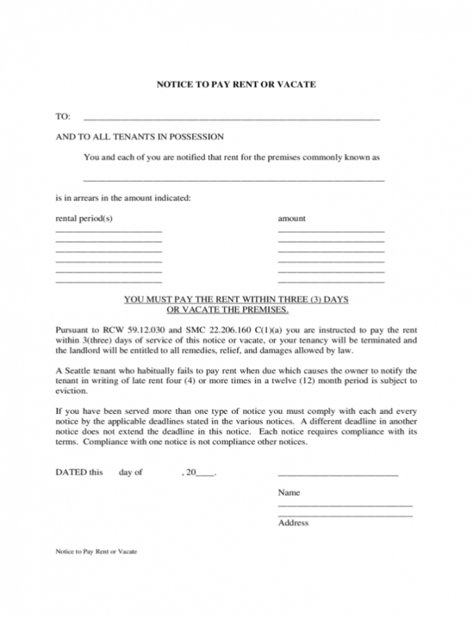 Printable West Virginia Rent And Lease Template  Free Templates In Notice To Pay Rent Or Quit Template Doc