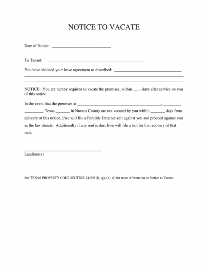 Texas Notice To Vacate Form  Fill Online Printable Landlord Notice To Vacate Template