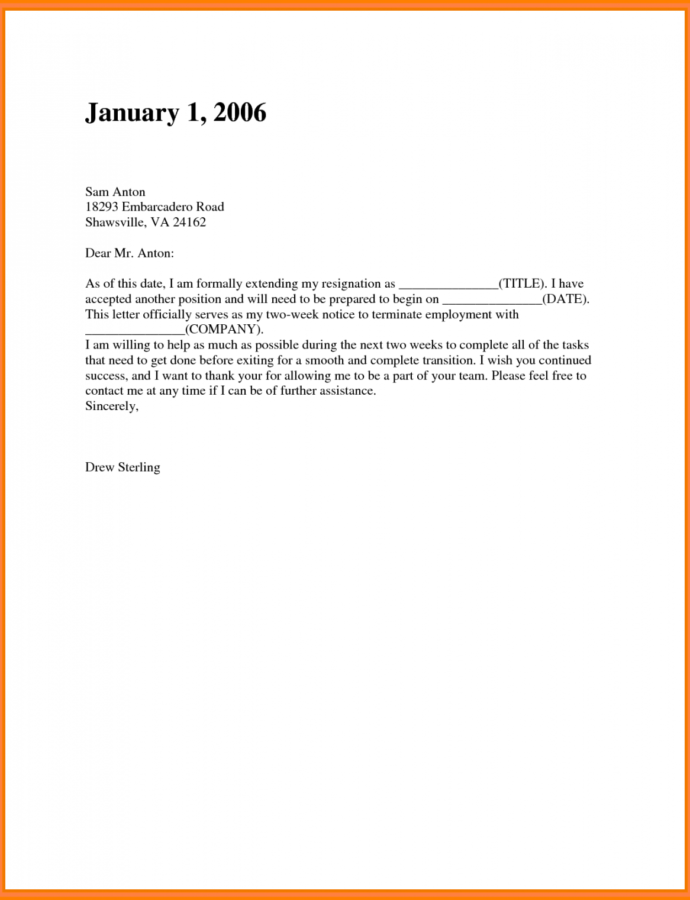 Two Weeks Notice Email  Ewrs2018 2 Weeks Notice Email Template