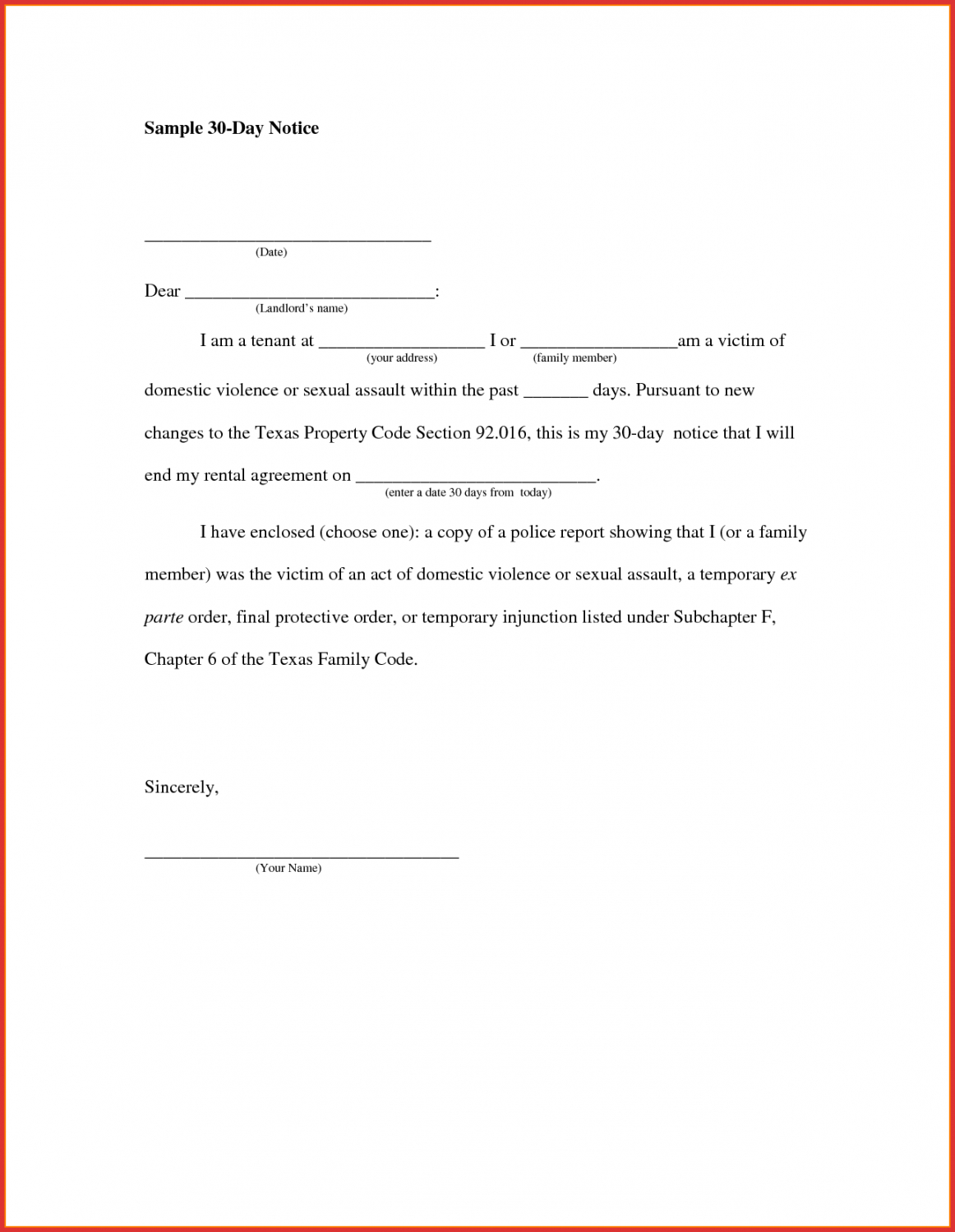 awesome 30 day notice sample  job latter sample 30 day notice to landlord template word