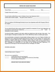 costume 1011 notice of lease violation letter  mysafetgloves notice of lease violation template word