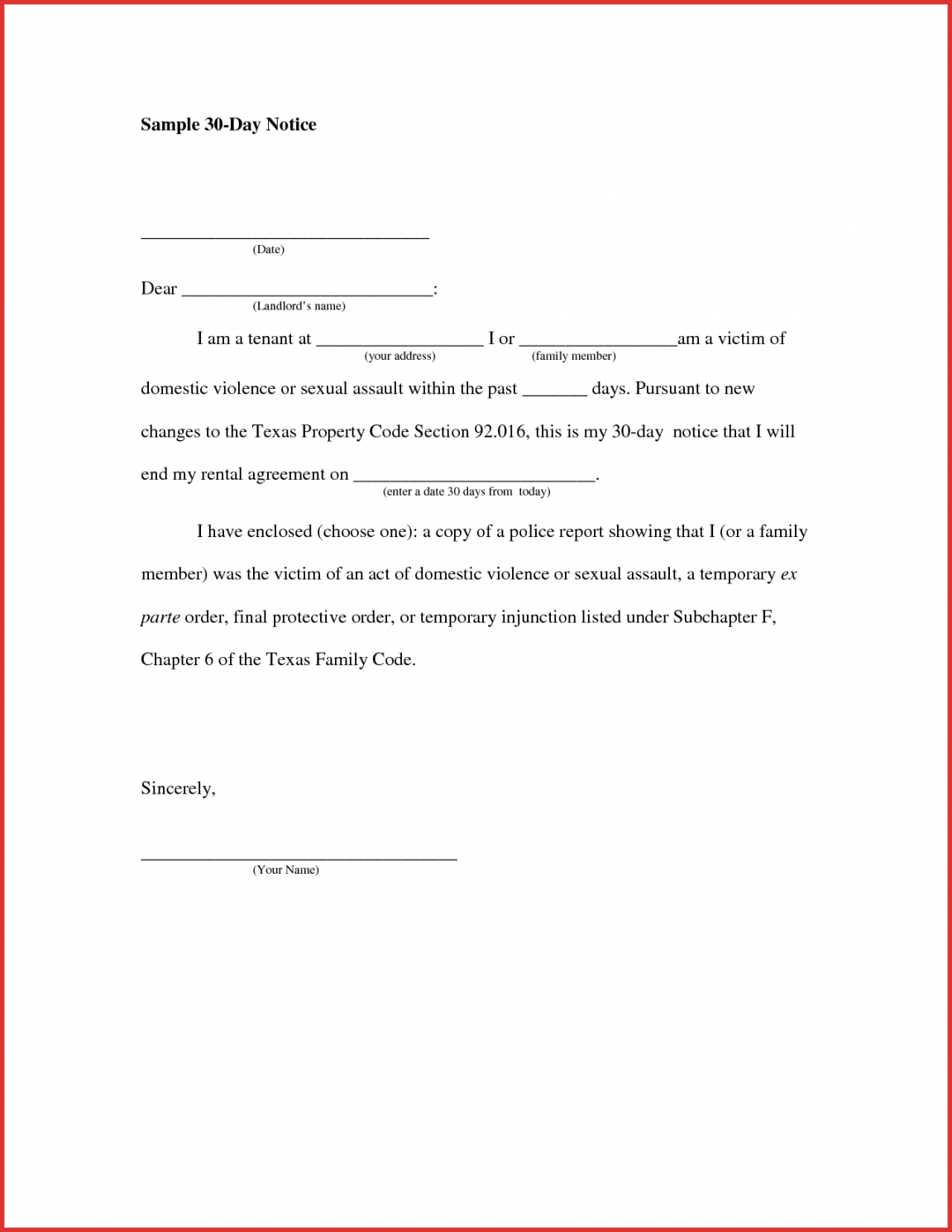 costume 30 day notice letter format  jasonkellyphotoco 30 day notice to vacate apartment template