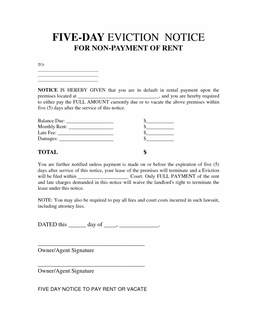 costume 5 day notice to pay rent template 5 day notice template example