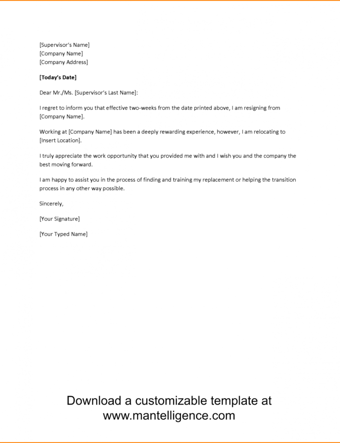 Costume 7 Formal 2 Week Notice Example  Mael Modern Decor Two Weeks Notice Letter Template Pdf Example