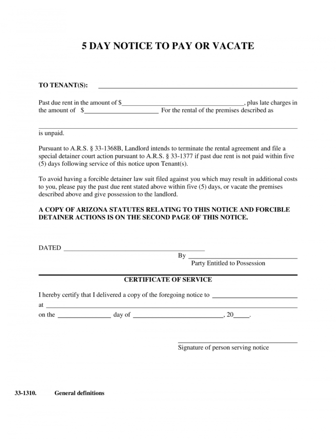 Costume Arizona 5Day Notice To Pay Or Vacate Form  Notice To Quit Illinois 5 Day Notice Template Word
