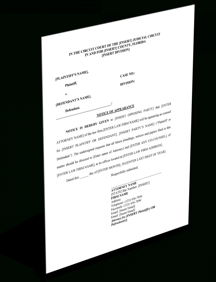 Costume Florida Notice Of Appearance  Forms For Attorneys Notice Of Appearance Template PDF