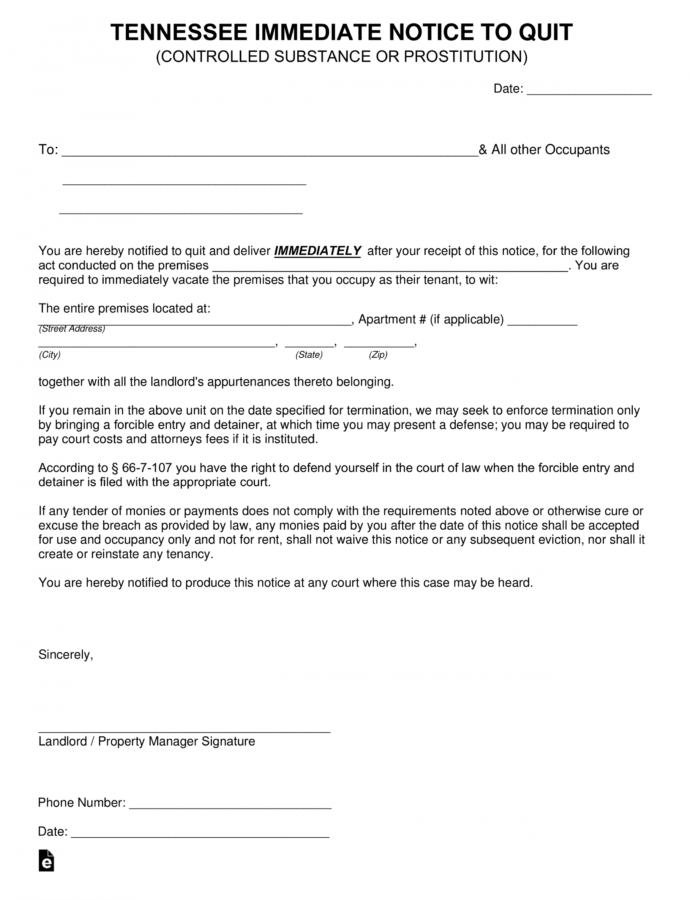 Costume Free Tennessee Immediate Notice To Quit Form  Substance Or Eviction Notice Tn Template Sample