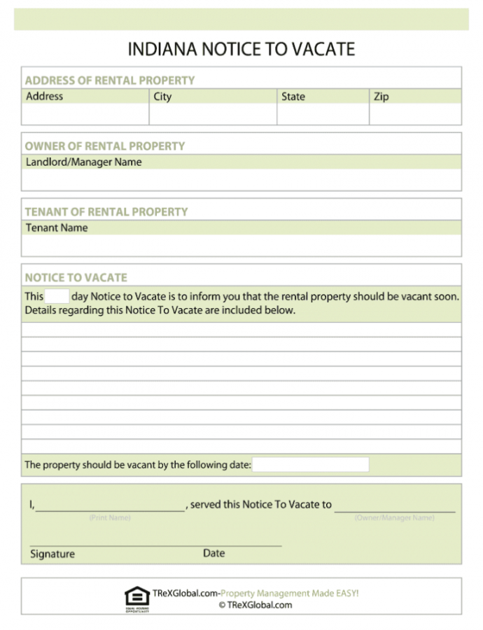 Costume Indiana Notice To Vacate  Fill Online Printable Fillable Eviction Notice Indiana Template Sample