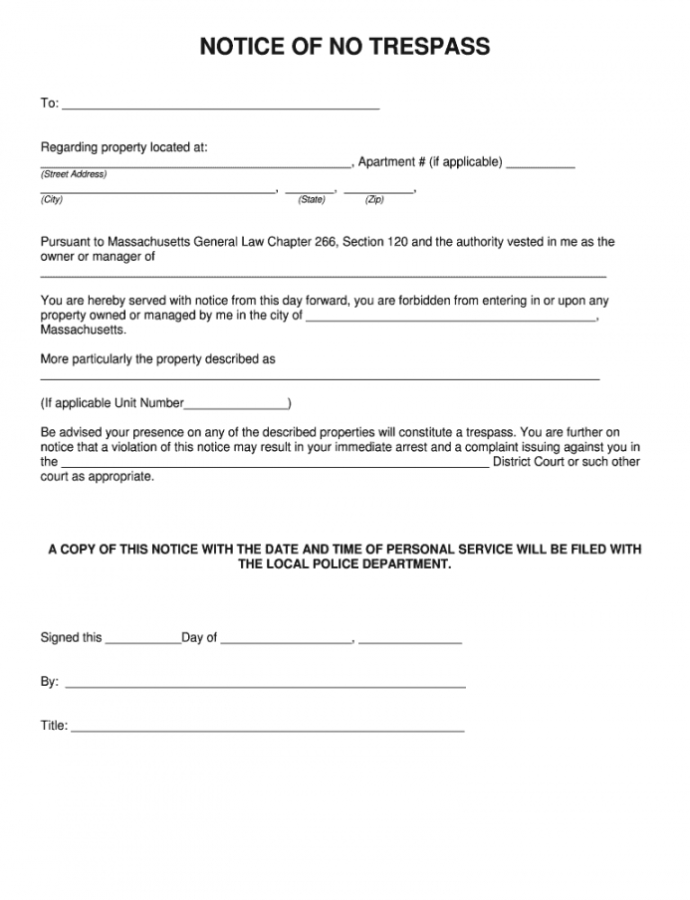 Costume Letter Of No Trespass In Massachusetts  Fill Online No Trespassing Notice Template Word