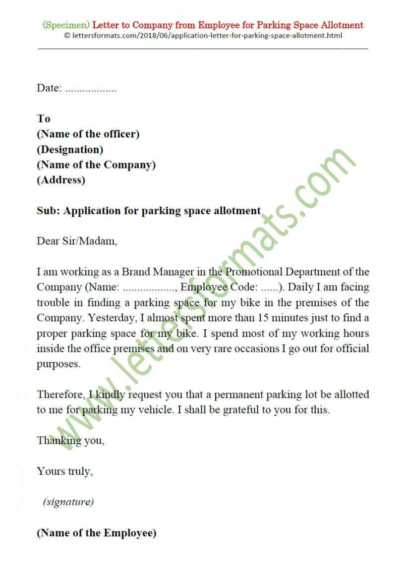 costume letter to society or office for car  bike parking space parking warning notice template doc