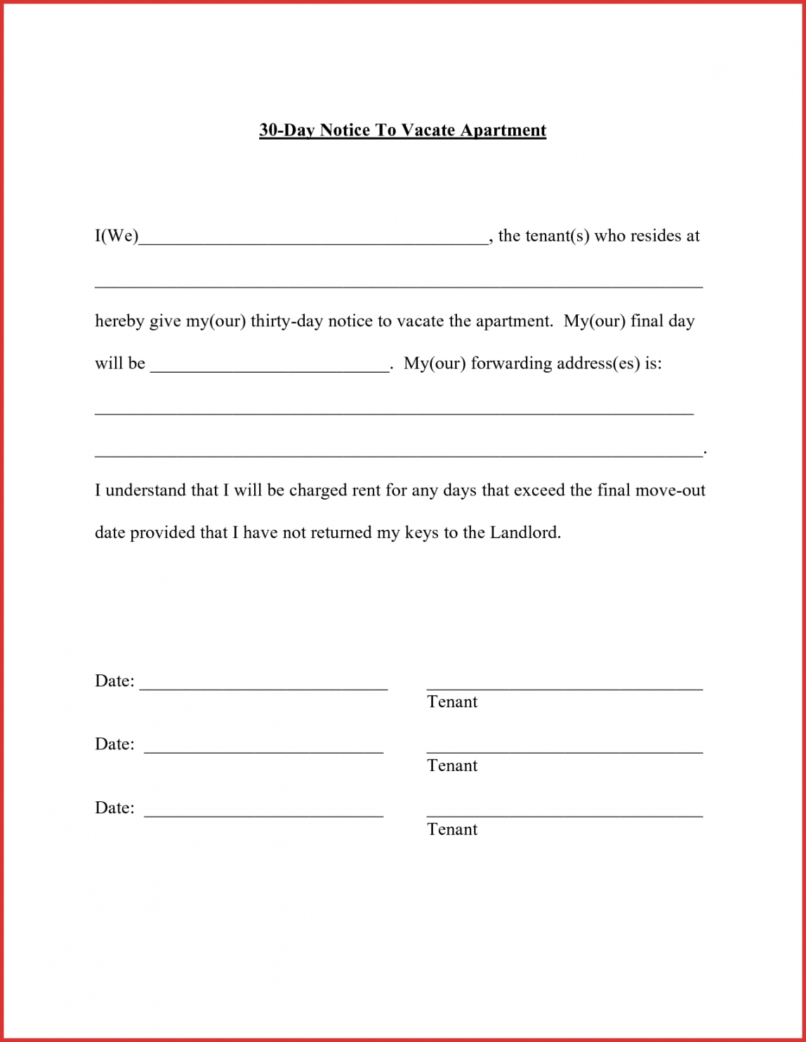 costume mail letter format apartment resume templates landlord 30 day notice for landlord template sample