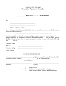costume missouri notice to quit form  nonpayment of rent  eforms missouri eviction notice template example