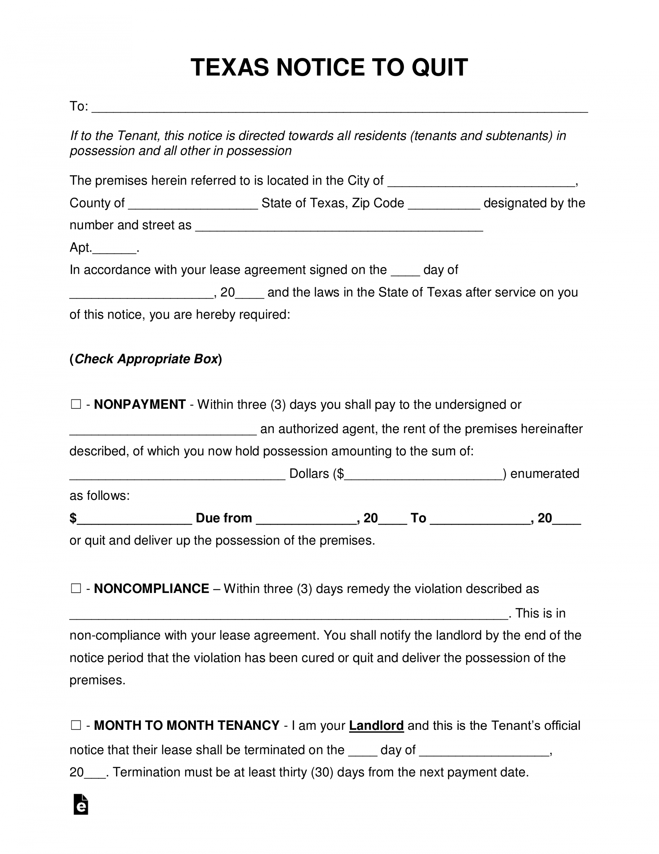 costume notice to vacate texas  jasonkellyphotoco lease violation notice template word