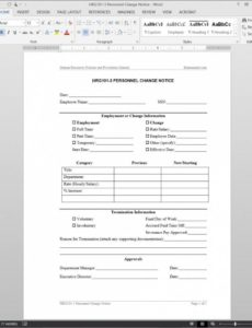 costume personnel change notice template  hrg1013 payroll change notice template pdf