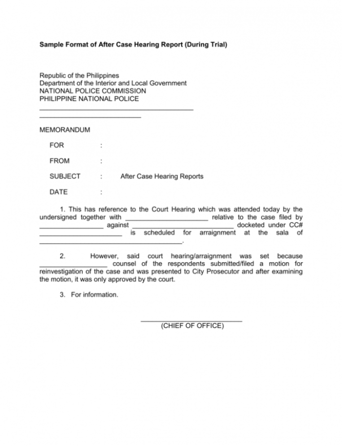 Costume Sample Format Of After Case Hearing Report During Notice Of Hearing Template Word