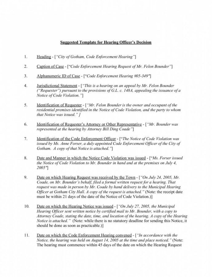 Costume Suggested Template For Hearing Officer's Decision Notice Of Hearing Template Sample