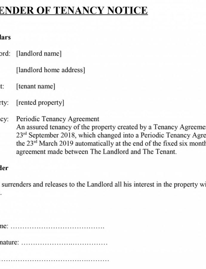 Costume Surrender Of Tenancy' Notice For Tenants Section 21 Notice Template Doc