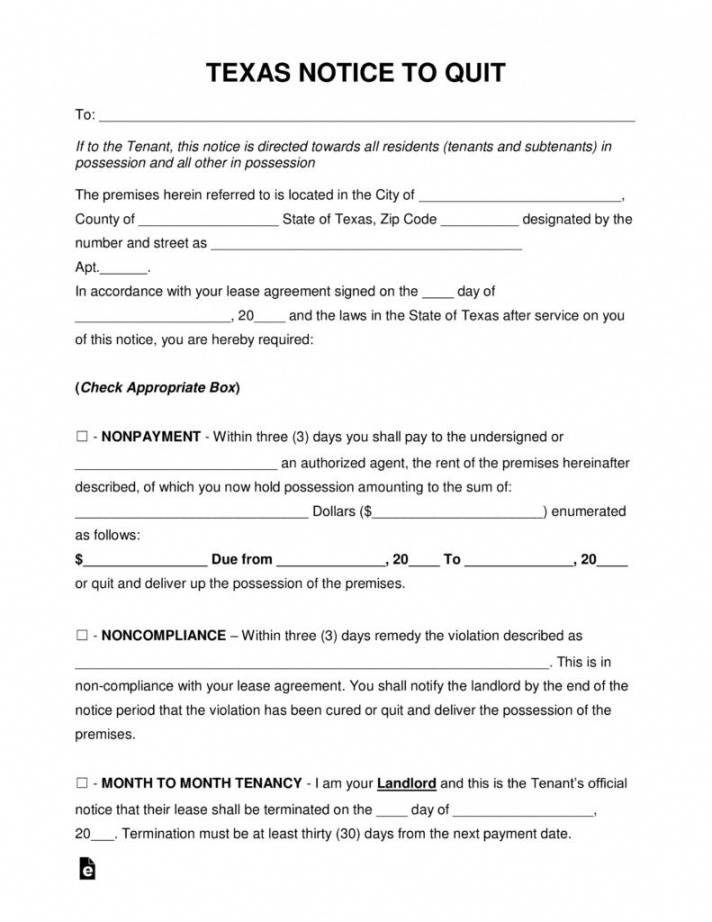costume texas eviction notice to vacate form  mbm legal texas notice to vacate template pdf