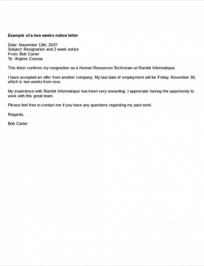 Costume Two Weeks Notice Letters  Download Pdf Doc Format Two Weeks Notice Letter Template Pdf