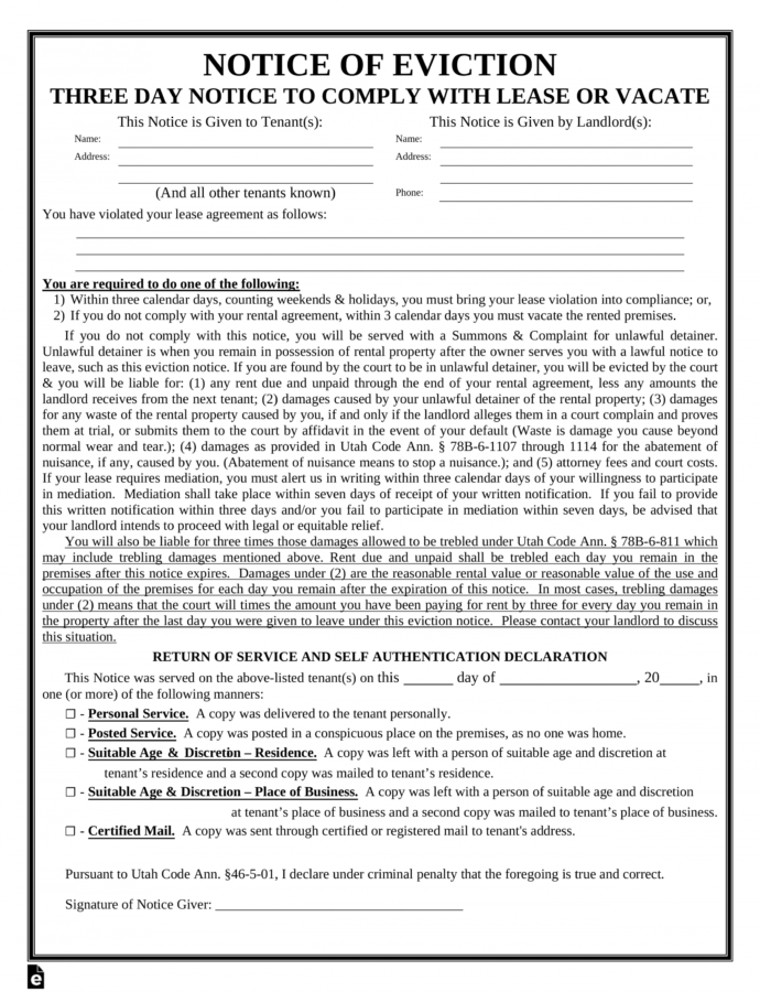 Costume Utah 3Day Notice To Quit Form  Noncompliance  Eforms Utah Eviction Notice Template
