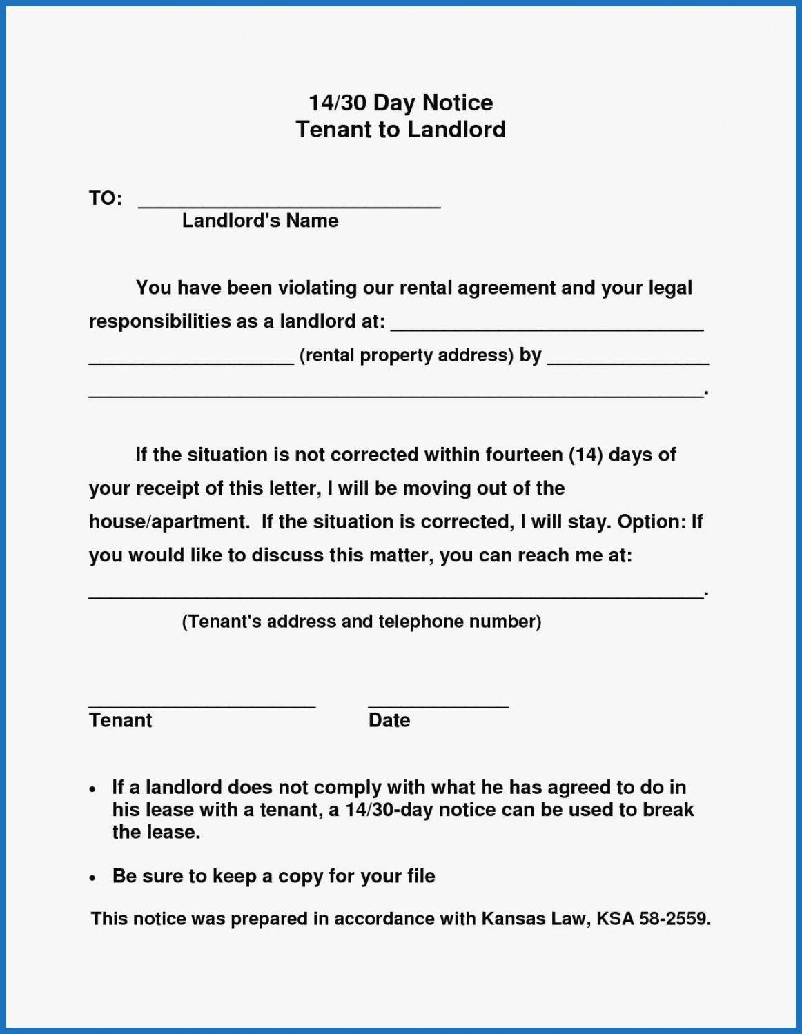 editable 016 day notice to landlord california template pleasant 30 notice to vacate template word