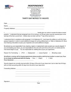 editable 30 day notice letter to landlord  giftedpaperco giving 30 day notice to landlord template sample