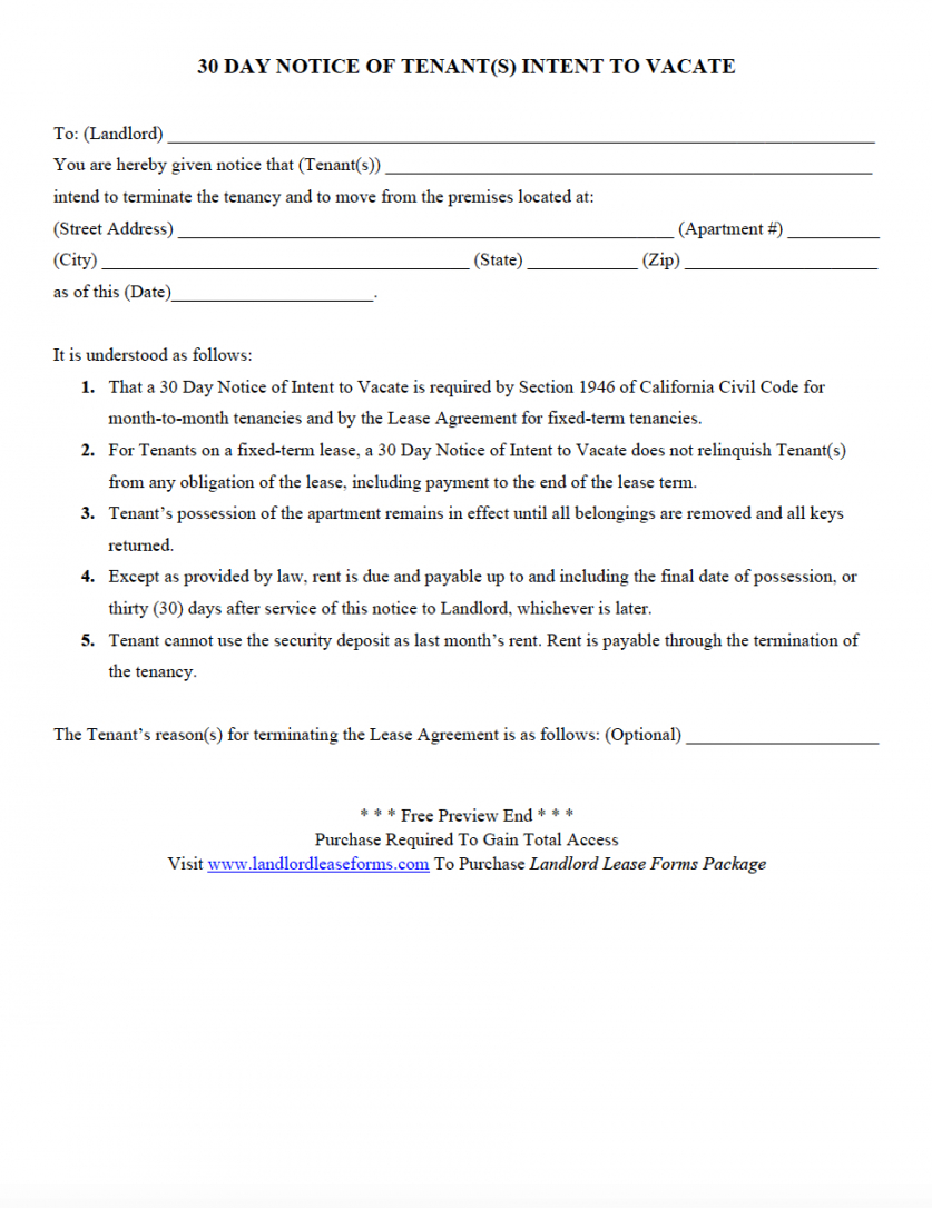 editable 30 day notice to vacate letter to tenant template examples 30 day intent to vacate notice template word