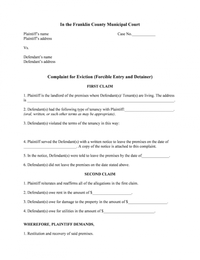 Editable Eviction Complaint Form Ohio  Fill Online Printable Ohio Eviction Notice Template PDF