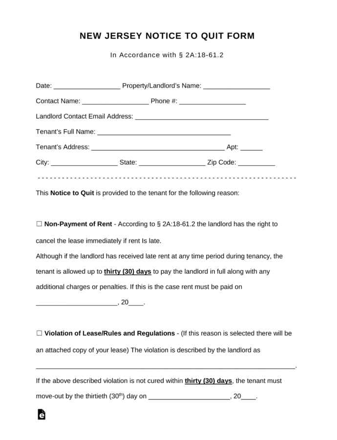 Editable Free New Jersey Notice To Quit Form  For All Violation Notice Of Lease Violation Template Doc